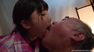 Japanese teen Miyazaki Aya seduces an older cadger and rides him unending