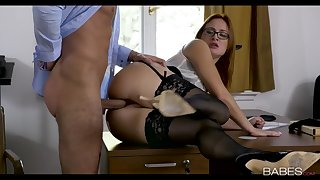 Redheaded secretary battle-axe boning her boss forth the office