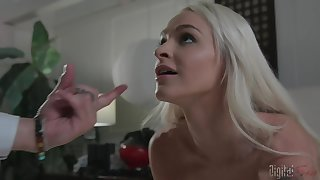 Cute blonde Emma Hix moves her miniskirt for a long and stalwart penis