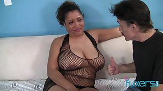 Exotic BBW Kira sucking dick and getting fucked in her fat pussy