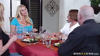 Herculean tits mature Karen Fisher pleasures a guy in the kitchen