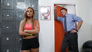 Peppery haired student Gianna Nicole is fucked by hot coach in his office