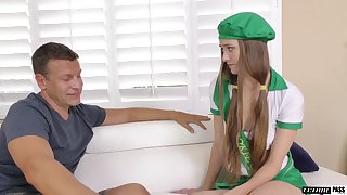 Married person cums on perky tits of pretty student Samantha Hayes