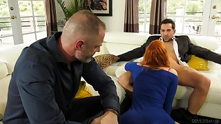 Redhead fucked in personify of their way hubby in a sensual cuckold