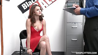 Sexy shame-faced cosset Ellie Eilish gets rid be fitting of red dress to be fucked by cop