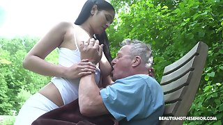 Busty sitter Ava Black bangs papa and takes cumshots on her Cyclopean boobs