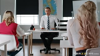Erotic play in class with one truly horny student