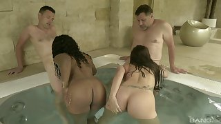 Fucking in be passed on sauna between two guys and two sexy hookers