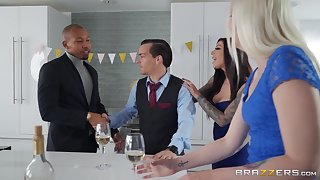 Busty MILF gets working in all directions hubby's black business partner